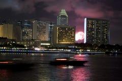 Singapur en la noche Imagen de archivo libre de regalías