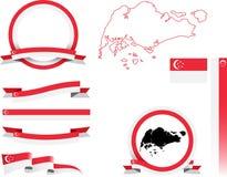Singapur-Fahnen-Satz Stockbild