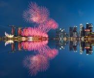 Singapur fajerwerku święto państwowe 2015 SG50 Obrazy Royalty Free