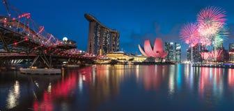 Singapur fajerwerku święto państwowe 2015 SG50 Zdjęcie Stock