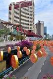 Singapur febrero de 2015 Año Nuevo chino, decoraciones de la Navidad Fotos de archivo
