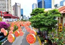 Singapur febrero de 2015 Año Nuevo chino, decoraciones de la Navidad Imágenes de archivo libres de regalías