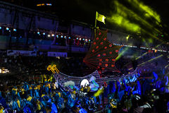 SINGAPUR - 3. FEBRUAR: Chingay-Festival 2012 in Singapur auf F lizenzfreie stockfotos