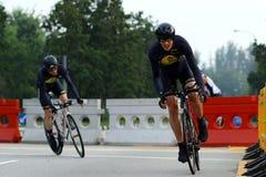 Singapur-Feier-Straßen-Reihe Team Time Trials Stockbilder