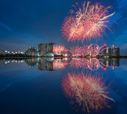 Singapur-Feuerwerk Nationaltag 2015 SG50 Lizenzfreie Stockfotografie