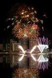Singapur-Feuerwerke Stockfotos