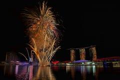 Singapur-Feuerwerke Stockfotografie