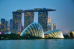 Singapur-Finanzbezirk mit Marina Bay Sands Lizenzfreies Stockbild