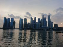 Singapur-Finanzzentrummarkstein Stockfoto