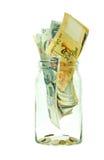 Singapur-Geld in einem Glas Stockbild