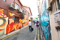 Singapur: Graffiti zbliżają Haji pas ruchu Zdjęcia Stock