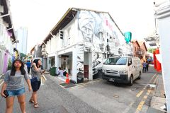 Singapur: Graffiti zbliżają Haji pas ruchu Zdjęcia Royalty Free