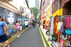 Singapur: Graffiti zbliżają Haji pas ruchu Zdjęcie Stock