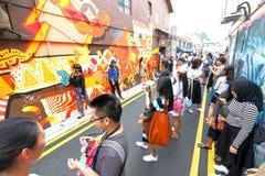Singapur: Graffiti zbliżają Haji pas ruchu Fotografia Stock