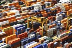 Singapur: Hafen, Behälter Lizenzfreie Stockbilder