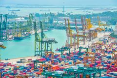 Singapur-Handelsportvogelperspektive stockfoto