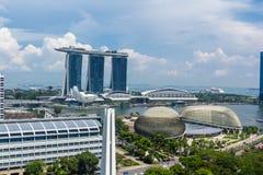 Singapur im Stadtzentrum gelegen, Esplanade-Theater auf der Bucht, Marina Bay Sa stockfotografie
