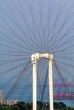Singapur im Stadtzentrum gelegen, Marina Bay und großes Rad lizenzfreies stockbild