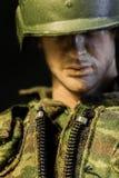 SINGAPUR 8. JUNI 2017: Soldatspielzeuggesichts-Nahaufnahmeansicht stockfotografie