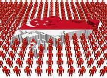 Singapur-Kartenmarkierungsfahne mit vielen Leuten Lizenzfreies Stockbild
