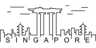 Singapur konturu ikona Może używać dla sieci, logo, mobilny app, UI, UX ilustracja wektor