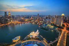 Singapur linia horyzontu i widok Marina zatoka obraz stock