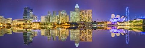 Singapur linia horyzontu i widok Marina zatoka Zdjęcie Stock
