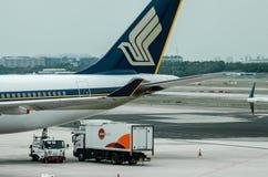 Singapur linia lotnicza przy Changi Lotniskowym Terminal 1 Fotografia Stock