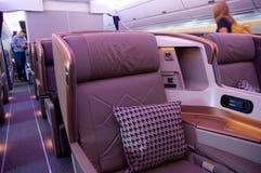 SINGAPUR, LIPIEC - 22, 2016: Klasa Business w Aerobus A350 Obraz Stock