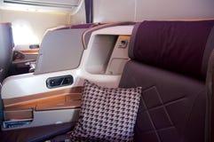 SINGAPUR, LIPIEC - 22, 2016: Klasa Business w Aerobus A350 Zdjęcie Stock