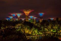 SINGAPUR SINGAPUR, LUTY, - 01, 2018: Piękny plenerowy widok futurystyczny drzewo zadziwiająca iluminacja przy ogródem obok Obraz Royalty Free