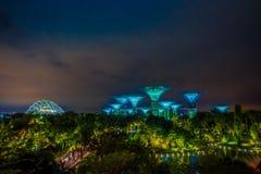 SINGAPUR SINGAPUR, LUTY, - 01, 2018: Piękny plenerowy widok futurystyczny drzewo zadziwiająca iluminacja przy ogródem obok Obrazy Royalty Free