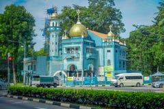 SINGAPUR SINGAPUR, LUTY, - 01, 2018: Plenerowy widok błękita kasztel w ulicach Singapur Obrazy Stock