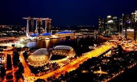 SINGAPUR - Maj 6, 2017: Panorama przez Marina zatokę Fotografia Royalty Free