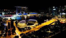 SINGAPUR - Maj 6, 2017: Panorama przez Marina zatokę Obraz Royalty Free