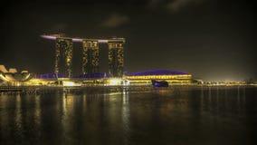 Singapur Marina Bay en la noche almacen de metraje de vídeo