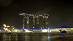 Singapur Marina Bay en la noche metrajes