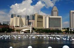 Singapur: Marina Podpalana linia horyzontu Obrazy Stock