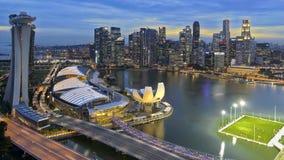 Singapur - Marina Podpalany widok od Singapur ulotki zdjęcia stock