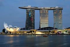 Singapur Marina zatoki nocy widok Zdjęcie Stock
