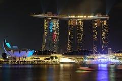 Singapur Marina zatoki nocy widok podczas lekkiego przedstawienia Zdjęcia Stock
