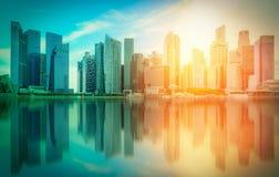 Singapur miasta linia horyzontu dzielnicy biznesu śródmieście w dniu obrazy royalty free