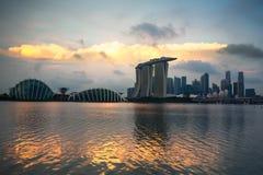 Singapur miasta linia horyzontu przy zmierzchem Zdjęcie Stock
