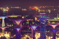singapur Nachtmeerblick Lizenzfreie Stockbilder