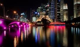 Singapur nachts Lizenzfreies Stockbild