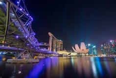Singapur nachts Lizenzfreie Stockfotografie