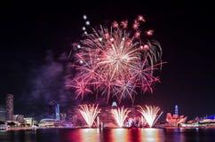Singapur-Nationaltag ` s Feuerwerk Lizenzfreies Stockbild