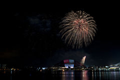 2016-07-02 Singapur-Nationaltagfeuerwerkswiederholung Lizenzfreie Stockfotos