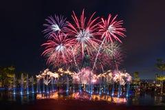 Singapur NDP Definitywna zapowiedź fajerwerk 2016 Obraz Stock