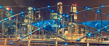 Singapur nocy widok Obrazy Royalty Free